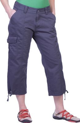 Support a cleaner, greener planet. These capris are crafted of genetically unmodified cotton grown without the use of herbicides, pesticides or synthetic fertilizers. Flap-covered cargo and back pockets. Drawstring waist. 100% organic cotton. Imported.Inseam: 21.Even sizes: 4-12.Color: Granite. - $24.88