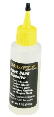 Hunting Quick Bond takes in seconds and can be used on carbon, aluminum or fiberglass arrows. 1-oz. bottle. Type: Arrow Building Accessories. - $7.88