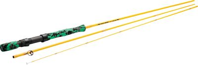 Flyfishing Tim Rajeff had a goal of making fly fishing easier for youngsters when he created Echo Gecko rods. Now kids dont have to learn using rods that are too long and too stiff for them. This rod has a specially designed handle and a short 2 fighting butt that allows the smallest anglers to cast with two hands. A bright yellow blank with orange thread wraps and colored handle make it fun to look at and to cast, and its length is ideal for trout, panfish and bass. The rod can handle a short belly WF5 or a standard WF4 line. A three-piece travel design sports alignment dots for quick assembly and a Fuji-style fast-tighten reel seat. Hard chrome snake guides. Rod sock and sturdy rod case included. Length: 79. Action: Medium-Fast. Color: Bright yellow. - $99.99