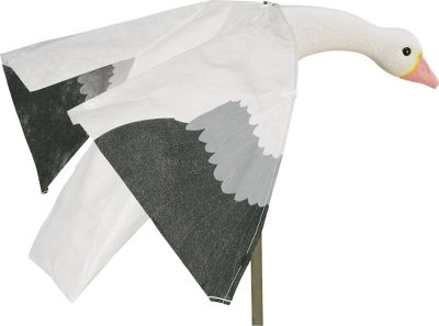 "Hunting Snow or Blue Goose heads are injection-molded polystyrene, highly detailed and tough; body is Tyvek one of the toughest fabrics ever produced. Wings are made of Iron Hide fabric. Struts are ABS which is impervious to heat and cold. True-to-life printed feathering and coloration. Goose Magnets are 32"" long with a 48"" wingspan. Uses 1/2"" conduit stakes (not included). Per each. Avaiable: Snow, Blue. - $29.99"