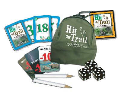 Camp and Hike Put on your hiking boots and see if you can be the first to hike 100 miles in this fast-paced, nature-inspired family game. Roll the dice, match the cards in your hand and build that mile pile to 100. Includes mini storage backpack, 72 custom cards, three dice, two pencils, and instructions. Ages 8+. Up to 8 players. - $12.99