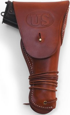 Reminiscent of the kind of shoulder holsters carried by tank commanders in World War II, this holster is for full-sized Model 1911-style pistols. The handgun remains out of the way when sitting or using a rifle, but is easily accessible at your side. Durable, high-quality leather construction. Tie-down strap secures the bottom of the holster to your belt. Right hand only. Made in USA.Available: 1942 Tanker Holster(belt not included)1911 Clip Pouch1918 Holster-19111918 Holster-92/96 (not shown)1940 Holster-1911 - $49.99