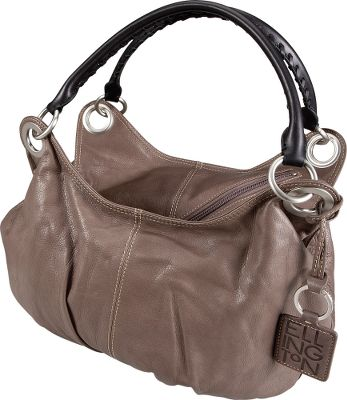 "Exuding casual-chic style, this handbag's classic hobo silhouette is crafted using high-quality materials with great attention to detail. Its supple Ellington signature matte Italian leather is made in a small tannery in northern Italy and will polish to a rich patina with use. The roomy interior has a leather-framed zipper front, three slip pockets and a key clip. Smooth leather straps with hand-laced decorative accents. Brushed nickel hardware. Unique diagonal zip-top closure. Leather logo key chain included. Imported. Dimensions: 10""H x 15""W x 3""D. Colors: Berry, Grey. - $149.88"
