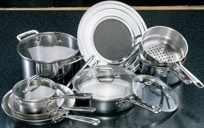 Stainless steel, aluminum and magnetic stainless steel are bonded into a tri-ply construction for optimum heat conductivity and supreme cooking performance. Ergonomically designed stainless handles have stainless steel rivets for long-lasting use. Tempered glass lids allow for easy viewing of cooking progress. Set includes 10 fry pan, 8 fry pan, 1-1/2-qt. saucepan with lid, 2-1/2-qt. saucepan with lid, 3-qt. saut pan with lid, steamer insert, 6-qt. Dutch oven with lid and universal splatter screen. Dishwasher safe. Manufacturers lifetime warranty. Color: Stainless. Type: Cookware. - $299.99