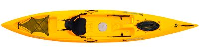 Kayak and Canoe Matches the exceptional speed, performance and storage capacity of a touring kayak with the roominess and stability of a recreational kayak. The sharp entry line cuts through waves to propel you beyond the breakers. With dual tank wells, a cargo net lacing system and two hatches, this kayak has the maximum storage capacity for multiday trips and expeditions. Open the center Solace Hatch to keep important items secure and accessible inside the kayak. Large bow hatch for storing additional gear. Ledge lock paddle keepers secure paddles when not in use. Heavy-duty adjustable foot braces ensure secure foot bracing. Made in USA.Length: 14 5. Width: 30.5. Weight: 69 lbs. Weight capacity: 350 lbs. Colors: Tangerine, Yellow. - $699.99