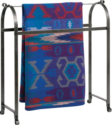 Entertainment Hand it down from generation to generation, this Quilt Racks hammered-steel finish and hot-rolled-steel construction add rustic charm and heirloom quality. Hang up to three quilts at once, or use it for smaller blankets and throws. A protective acrylic coating adds durability. Five-year limited warranty. Made in USA. 34L x 11W x 33H. - $179.99