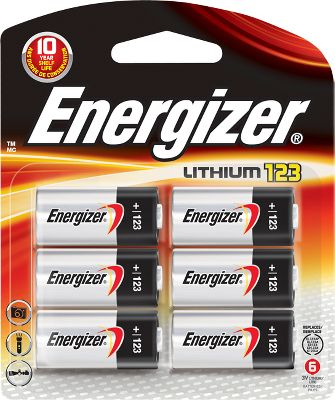 Camp and Hike Energizer delivers long lasting power to keep up with todays high-tech equipment. Designed with lithium technology that helps meet the high current drains of many of todays devices. They are lightweight and operate well in extreme temperatures. Environmentally friendly. Available: 6-pack. Size: CR 123 6 PACK. - $15.99