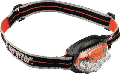 Camp and Hike Energizers LED Headlamps are a brilliant, versatile and comfortable source of illumination offered at an affordable price. Light assembly pivots, so you can direct light where you want it. An easy-to-use multiposition switch controls the light setting. The soft elastic headband is adjustable for optimal comfort. Water-resistant to IPX4 standards. Power supplied by three AAA batteries. Available: Four LED 80-lumen output with an 8.5-hour run time on high mode. 25-meter beam distance. Three light modes with red and white light colors. Seven LED 115-lumen output with a 5.5-hour run time on high mode. 25-meter beam distance. Four light modes plus a strobe. Red and white light colors. High-Performance LED 200-lumen output with a 4-hour run time on high mode. 80-meter beam distance. Four light modes. White light only. Color: White. - $10.88