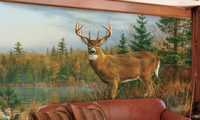Hunting Convert a bare wall into a scenic landscape with one of these easy-to-hang murals. The vibrant scenes will cover an 83 x 138 wall, from floor to ceiling, and will add that special great outdoors feeling to any room. These murals can easily be trimmed to fit odd-sized walls or around windows, and can be removed without damaging walls. Comes in eight panels. Paste included. Available:Whitetail on the Move. Color: White. - $79.99