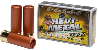 Hunting The turkey-tumbling, one-and-done power of Hevi-Shot Magnum Blend and Hevi-13 at a more affordable price. These load features a layered design with Hevi-Shot No. 6 pellets over premium steel No. 4 pellets for a potent knockout punch. Pattern-Density Technology puts 20% more pellets on target for performance at up to 40 yards. Custom-loaded on proprietary equipment for unmatched consistency. Available in 12-gauge and 20-gauge loads. Per 5. Made in USA. - $9.99