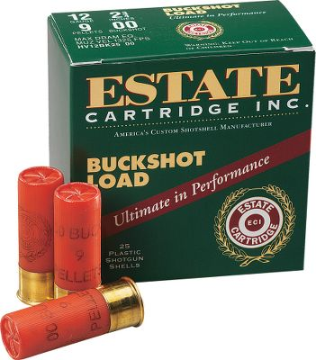 Guns and Military If you go through an abundance of shotgun ammo, youll be hard-pressed to find a better deal on 12-ga. 2-3/4 buckshot shells. Volume shooters know the quality and value of Estate shotgun shells, and youll often see them used in competitions. Available: 12 ga. 2-3/4 00-buckshot. Per 25 12 ga. 2-3/4 No. 4-buckshot. Per 25 Type: Buckshot. - $16.99