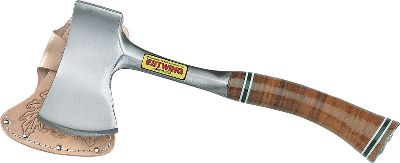 Camp and Hike The Sportsman Axe is 13 in length and features a stacked leather handle. It features a 3-inch cutting edge and comes with a vinyl sheath. Like all Estwing axes, the Sportsman features a one piece forged steel head and handle. Flat back can be used to drive tent stakes or nails. - $44.99