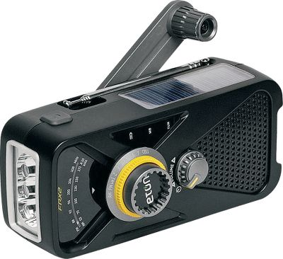 A streamlined emergency radio thats loaded with features and small enough to fit in a pack. Built-in LED flashlight and glow-in-the-dark locator. Receives AM, FM, NOAA and WB frequencies. Internal Ni-MH battery charges with a solar panel, hand crank or DC input. USB dump charge for electronics. Headphone output. Dimensions: 2.4H x 5.4W x 2.4D. Weight: 9 oz. Colors: Black, Red. Type: Weather Radios. Red. - $29.88