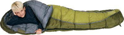 "Camp and Hike Kids will be as cozy as a bug in a rug in these kid-sized sleeping bags. Double-layer offset multineedle quilt construction ensures proper loft of the ThermaShield premium insulation. They are rated to 30 F, making them perfect for summer camping trips and mild nights in the spring and fall. Kids will also want to take them on their sleepovers at a friend's house. Fully adjustable contoured hood and a draft tube seal in the warmth. Differential cut eliminates cold spots. Inside stash pocket for a favorite stuffed animal. Trapezoidal foot box gives more room for foot movement. Soft polyester taffeta liner. Two-way self-repairing zipper. Includes stuff sack. 66"" x 26"" x 18"". Imported. Color: Grasshopper - $34.88"