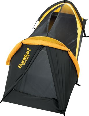 Camp and Hike Rugged and lightweight, this one-man tent is perfect for the solo adventurer. Built with three-season construction, the Solitaire features a 6.3mm fiberglass frame that will stand against heavy winds. The 1,200mm waterproof rated 75D StormShield polyester taffeta fly and the equally strong 1,200mm waterproof rated 75D polyester taffeta floor are made to protect and keep you dry during the worst rainstorms. During hotter conditions, the 50-denier No-See-Um mesh walls offer excellent airflow, and the fly can be pulled back for bug-free stargazing. Its two-pole, hoop-style post and grommet assembly makes set up fast and easy. One end offers a roomy vestibule for gear storage and the other has a zipper in mesh roof panel for easy entrance and exit. Two storage pockets and one flashlight loop. Imported. Color: Gold/Black. Color: Gold/Black. - $89.95