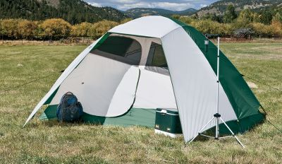 Camp and Hike Ultralight, two-pole design provides quick and easy, no-hassle setup for on-the-go weekend campouts. The 800mm waterproof-rated Storm-Shield polyester fly boasts two rods that extend over the doors for strength, stability and rain protection. The 75-denier polyester walls and floor boast an 800mm waterproof-rated coating for exceptional wet-weather protection. Elevated bathtub floor keeps seams high above the ground for water resistance. Stash pockets and interior storage pockets keep items handy, yet out of the way. Light, fiberglass poles with clips, sleeves and ring-and-pin assembly for easy setup. The Tetragon 3-person tent has a mesh roof and side panels for air circulation, a gear loft with two interior storage pockets and one door with two windows. - $99.88
