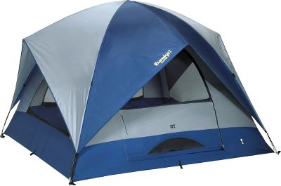 Camp and Hike Free-standing, two-pole dome tent sleeps five to six people, making it perfect for your family-camping needs. The 75-denier Stormshield polyester fly has a 1,200mm-rated waterproof coating and is hooded on all four sides for protection and ventilation. Heavy-duty 210-denier polyester oxford floor has a 1,200mm-rated waterproof coating to protect against ground moisture. Walls are 75-denier polyester with a 1,200mm-rated waterproof coating. Fiberglass frame with clips and ring-and-pin assembly ensures quick, easy assembly. Storage options include hanging gear loft organizer, two water-bottle holders, corner organizer and wall organizer with mirror. Four zippered windows offer privacy or ventilation and outside views. One door with high/low ventilation options. Two mesh roof vents plus one in door. Imported.Floor size: 11L x 11W.Center height: 7.Tent area: 121 sq. ft. Minimum weight: 23 lbs. 15 oz.Pack size: 33L x 7.5 dia.Sleep capacity: 5-6. - $319.99