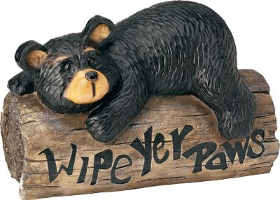 Camp and Hike Placed in your garden or near an entry way, this cheerful bear will kindly welcome and remind your guests to wipe off their feet before entering your house. It has the authentic look of hand-carved wood and is cast in durable, long-lasting resin. Imported.Available: Small 7.67L x 13.18W x 8.86H. Weight: 5.1 lbs. Large 12.99L x 18.31W x 23.82H. Weight: 11.02 lbs. Type: Outdoor Statuary. Size Large. - $22.88