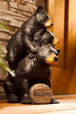 Camp and Hike Welcome family, neighbors and friends into your garden, yard or patio with these playful bears. The solar-powered rock has the word Welcome that lights up at night. The statue is made of durable resin and features a realistic, hand-carved look. Imported. Dimensions: 18.31L x 23W x 12.9H.Weight: 10 lbs. - $79.88