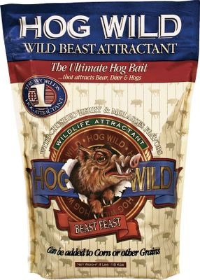 Hunting Hogs will root a hole more than 3-ft. deep to get every last grain of this super-potent attractant - Hog Wild is also irresistible to bears, deer and virtually any other animal that roams the woods. Created using a special blend of crushed berries, molasses and secret flavorings, Hog Wild can be used on its own, placed in a hog trap or mixed with corn or grain. A go-to weapon in the arsenal of ranchers looking to rid their properties of destructive hogs through trapping and hunting. Available: 4 lbs. - $9.99