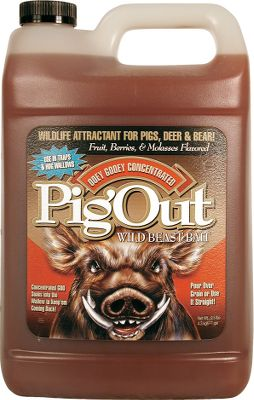 Hunting Pour Pig Out on the ground and wild hogs, bear, deer, elk, and moose will rush in for a snout full of this gooey treat. This versatile attractant incorporates fruit, berries, molasses and other potent flavors. It's ideal for use in hog traps and wallows, and for pouring over grain or using straight. Dump it over anything at your bait station to bring bears on a seek-and-must-eat mission. Available: 1 gallon. - $9.99