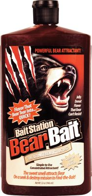 Hunting BaitStation BearBait is a powerful jelly-doughnut-flavored gel that bears sniff out and lick on till it's gone. Squirt it on your bait pile to add a sweet, super-attracting smell. Coat the trees near your stand and bears will return for days to chew at the flavored bark. Spread it inside empty bait barrels to keep bruins licking and clawing to the last drop. 32-oz. bottle. Type: Bear Attractants. - $9.99