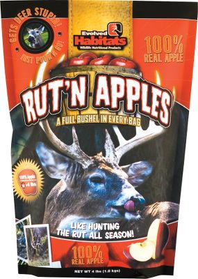 Hunting Deer love Rut'n Apple pellets because they are made of real apples. Each bag is equivalent to one bushel of apples, so it only takes a little to supplement their regular consumption. Deer will spend hours licking them off of the ground. It's easy to use. Just sprinkle pellets out in an area and wait for the deer to show up. Available: 4 lb. bag. - $10.99