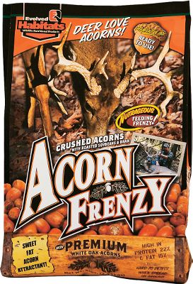 Hunting Deer go nuts for acorns! This powerful Acorn Frenzy formula is full of rich nutrients that deer need. They need it to add fat reserves after the rut to sustain them through the long winter months. By supplementing the natural supply of acorns with Acorn Frenzy, you can boost the available nutrients for your local deer herd as well as attract and hold more bucks in your hunting spot. Pour it directly on the ground, or use it with trough or automatic feeders. Available: 6 lb. bag. Type: Deer Attractants. - $6.88