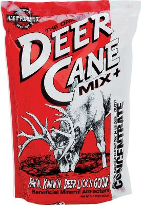 Hunting This active mixture of sodium and calcium reacts with moisture to release vapors that attract deer. Deer Cane Mix sites are treated by deer as natural mineral licks. Bags weigh 6.5 lbs. Mixture contains sodium carbonate, salt, monosodium glutamate, and natural and artificial sweetner. Mix with 6-8 gallons of untreated water and pour in a 4-foot circle on bare ground. Color: Natural. - $7.99