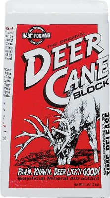 Hunting Deer Cane'sactive and effective mixture of sodium and calcium is a proven lure and benefit for deer. This effective mixture is available in 4-lb. blocks for you to place in your chosen area. These blocks react with moisture to release vapors that attract deer. Each site is treated by deer as a natural mineral lick. Among the ingredients are salt and calcium. Dimensions: 7 x 4 x 2-1/2 . Color: Natural. - $7.99