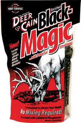 Hunting Just pour this powerful attractant out and it immediately releases vapors to lure deer. It's enriched with calcium, phosphorous and sodium. No mixing is required. Weight: 4-1/2 lbs. Color: Black Magic. - $7.99