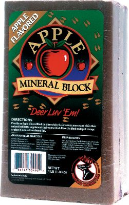 Hunting This selection of mineral blocks will allow you to choose flavors that are best suited for the habitat deer use in your area. Each 4-pound block contains beneficial mineral nutrients saturated with the taste deer crave. Available: Acorn, Apple Mineral, Sweet Corn/Molasses. - $4.99