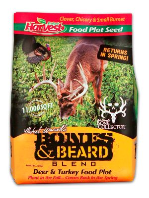 Hunting Create a nutrient-rich food plot with a blend of clover, chicory and small burnet that will attract deer and turkeys. Its a great blend for spring and fall. When planted in the fall, the plants return in the spring. This blend is the official choice of famed Bone Collector hunter Michael Waddell. Available: 5 lbs. plants 11,000 sq. ft. Type: Food Plots. Size 5 Lb. - $14.88