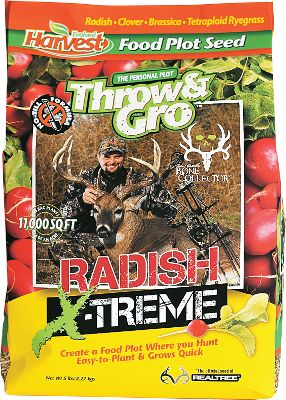 Hunting Created by Evolved Harvest and the Bone Collector crew, Throw Gro Radish X-Treme is ideal for food plots that are not accessible to heavy equipment. No-till, nutrient-rich blend provides the same deer-attracting results as the original Throw Gro, plus the added bonus of forage radishes. Size: 5-lb. bag - Plants 1/4 acre. - $19.99