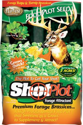Hunting ShotPlot Forage Attractant will pull in deer from far off. A blend of annual forage brassicas, including rape and turnip. Once these plants are mature, their leaves become a strong attractant due to a high sugar content. This mixture keeps deer on your land and provides the protein they're looking for in the fall - up to 38%. Average growth is an astounding 24 in 45 days, and devoured leaves are quickly replaced. Plant ShotPlot and maximize your chances of taking a trophy this fall. 10 lbs. plants 2 acre. - $44.99