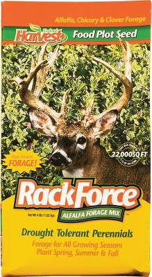 Hunting All-season forage for overall deer-herd health especially through winter and early spring. A mix of perennial alfalfa and drought-tolerant forage clover delivers a one-two food-plot punch. Grows in a range of conditions, but performs best on well-drained soils in drier climates. Plant mid-spring to early fall. 4-lb. bag plants 1/2 acre. - $24.88