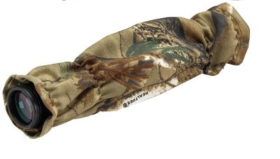 Hunting Don't let glare or reflection from your scope alert game. This camo scope cover hides your optics and provides a protective barrier. Cover slips over your scope and can be secured in position using hook-and-loop straps.Camo pattern: Realtree AP . - $9.88