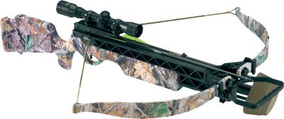 Hunting Ideal for emerging crossbow hunters, the Axiom SMF provides a versatile blend of speed, power and lightweight carrying convenience in one value-loaded package. Like all Excalibur crossbows, the North-American-made Axiom provides superior accuracy and reliability, along with plenty of horsepower to tackle any of North Americas largest game. It features a 175-lb. draw weight and a 14-1/2 power stroke, making it extremely easy to cock, yet capable of producing bolt speeds up to 305 fps. The ultralightweight, black-fiber-reinforced main frame is ideal for carrying on a long day afield. Power stroke: 14-12. Draw weight: 175 lbs. Length: 37-12. Weight: 6 lbs. Axiom SMF Package includes: crossbow, matching multiplex crossbow scope, rings and base, four-arrow quiver, four arrows and a rope cocking aid. Type: Crossbows. - $489.99
