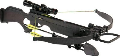 Hunting Based on the popular Eclipse 200-lb. thumbhole platform, this crossbow has a black carbon-fiber finish for disappearing in ground blinds and hunters wanting a tactical look. It will launch 350-gr. bolts at a blistering 330 fps for taking down any North American game. Installed S5 sound- and vibration-controlling system and matching cheekpiece. Ergonomic thumbhole stock. Crisp, reliable trigger. Power stroke:15-1/2. Draw weight:200 lbs. Length: 37.4. Overall weight: 6.3 lbs. Color: Black Carbon. Eclipse XT Crossbow package includes: crossbow, Shadow-Zone scope, rings and bases, four-arrow quiver with mounting bracket, four FireBolt arrows with field points and rope cocking aid. Type: Crossbows. IBO Speed (fps): 326-350. - $599.88
