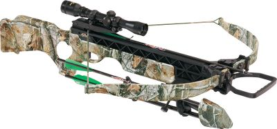 Hunting A lightweight, compact crossbow thats small, but powerful enough to launch 350-gr. bolts at 305 fps. The fiber-reinforced composite SMF shooting platform offers virtually bulletproof, trouble-free durability and flat- shooting precision, without the stress of high draw weights and long string travel. Ergonomic thumbhole stock. Power stroke: 14-1/2. Draw weight:175 lbs. Length: 36.3. Weight:5.9 lbs. Camo pattern: Realtree AP. Ibex SMF package includes:crossbow, matching multiplex crossbow scope, rings and bases, four-arrow quiver, four FireBolt arrows with field points and rope cocking aid. Color: Camo. Type: Crossbow Packages. - $549.88