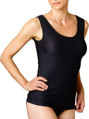 Lightweight, extremely packable and breathable 94/6 nylon/Lycra Give-N-Go Stretch fabric wicks moisture, and dries extremely quickly. Stretches for added mobility. Wash them on the go so you can pack fewer tanks when you travel. Aegis Microbe Shield treatment helps control odors and keeps them from settling into the fabric. Sexy stretch lace neckline detail. Machine wash cold. Imported. Sizes: S-XL. Colors: Black, Chocolate (not shown), Nude. - $22.99