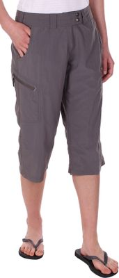 A stain-resistant coating matched with light, quick-drying 100% nylon construction give these cool, packable capris a functional, performance-driven edge. Two zippered leg pockets for storing small essentials. Hem cinches on the inseam and outseam for the perfect fit. Comfortable, tricot-lined waistband and extend tab snap closure. UPF rating of 30. Imported.Inseam: 18.Even sizes: 4-16 even.Colors: Light Khaki, Slate, Midnight. - $14.88