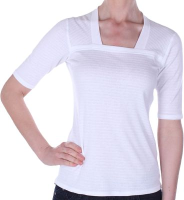 Stretchable, slim fitting and soft, this beautiful square neck keeps you fresh and dry all day long. Its fiber-based Dri-Release system pulls moisture away from the skin and promotes quick-dry evaporation. The eco-friendly, antimicrobial defense of FreshGuard eliminates odors for up to 50 washings or more. Crafted of a wrinkle-resistant blend of 85% polyester, 13% cotton and 2% spandex. Imported. Sizes: S-XL. Colors: White, Turquoise, Raspberry. - $29.88