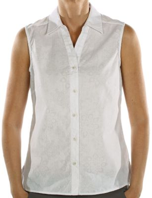 "Wrinkle-resistant and quick-drying, this sleeveless shirt ensures that you'll look and feel your best. Climate-control ventilation is built right into the lightweight 77/23 polyester/cotton to keep you cool when you're on the go. Front darts provide form-flattering, feminine shaping. Stylish gathering detail on back yoke. Button-down front. Imported. Length: 26"".Sizes: S-XL.Colors: White, Hibiscus, Azure, Light Aloe. - $19.88"
