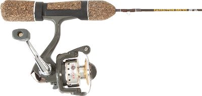 Fishing Designed specifically for ice fishing, this custom ice combo features great rod action at an affordable price perfect for those just getting started with ice fishing. With 4+1 ball-bearing operation and an extra-long stem, theres plenty of room for gloved hands to handle the Tru-Flow spool to guide alignment. The spool is on a 20 tilt, pointing directly at the guides for smooth line flow. Super-lube works down to -40F. Composite felt drag for smooth pull on long runs by hard-charging fish. The rod features custom ground fast tapers, Dyna flow guides and custom cork handles with comfort grips. - $27.91