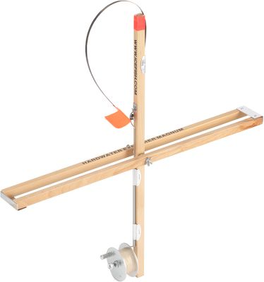 Fishing Ice fish with a traditional, wood-framed, dual-rail tip-up. The ultrasmooth trip mechanism and super-high, blaze-orange reflector flag calls out even the small bites. Metal spool has a 500-ft. capacity, line not included. Folds for easy transport. - $19.99