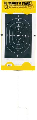 Hone your handgun-shooting skills with this affordable target and stand combination. You receive a galvanized steel target-holding frame and 15 paper 14 W x 22 H silhouette handgun targets. Just stick the frame in the ground in front of a safe backstop, clip on a paper target and you're ready to shoot. There's a data area on each target sheet to record load information. The back of the target is corrugated plastic backboard and the setup comes with two side clips to secure the paper to the frame and back if there's a breeze. Additional targets (15 per pack) may also be ordered separately. Available: Stand (w/15 targets) Targets (per 15) Size: TARGET STAND. - $14.99