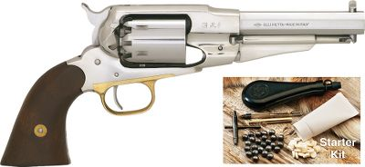 "This model is identical to the 1858 New Army stainless steel .44, but with a shortened 5-1/2"" barrel for easy concealment. Made from rigid, tough and easy-to-maintain stainless steel with a brass trigger guard and walnut grips.The Remington Model 1858 was one of the most powerful and rugged performers of its day. Easily removable/replaceable cylinders made reloading extremely fast. Spare cylinders also available. Kit includes: nipple wrench, powder measure, 2-oz. bottle of Cabela's Black Powder Pistol Lube, a powder flask, 30 lead roundballs, and 30 felt powder wads.Overall length: 11-1/2"".Weight: 2 lbs. 9 oz. - $439.99"