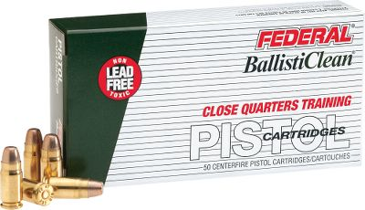 Frangible bullets break up immediately on contact with metal targets, significantly reducing ricochet and backsplash danger. BallistiClean loads have a copper-plated primer and a nontoxic head stamp for instant identification as a training round. 50 rounds per box. - $19.99