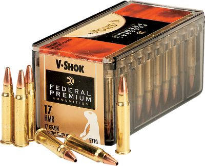 Premium Federal .17 HMR ammunition is ideal for varmint shooting. Each delivers amazing velocity. Per box, 50 rounds. Made in USA. Available: .17 HMR 17-gr. V-Max has a muzzle velocity of 2,550-fps and delivers 185 pounds of energy at 50 yards. - $14.99